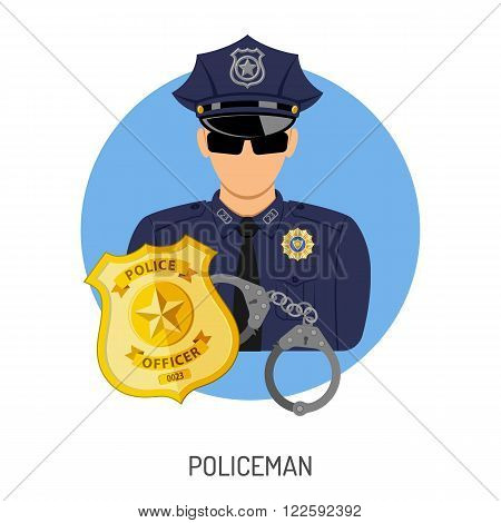Crime and Punishment Vector Concept with Flat Icons for Flyer, Poster, Web Site, Advertising Like Policeman, Badge and Handcuffs.