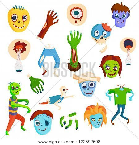 Colorful zombie scary cartoon elements and magic zombie people body cartoon fun group. Cute green cartoon zombie character set part of body monsters vector illustration. Horror zombie people isolated