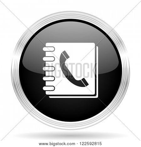 phonebook black metallic modern web design glossy circle icon