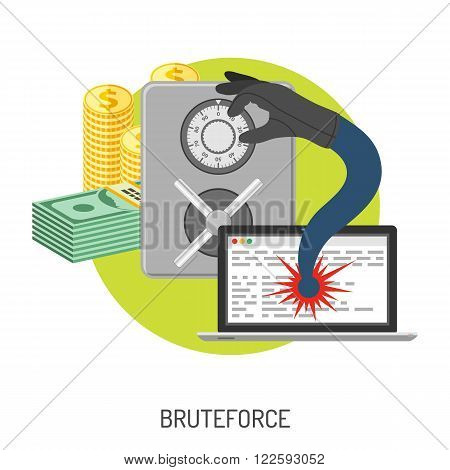 Internet Security and Cyber Crime Concept with Flat Icon Like Safe, Laptop, Money and Bruteforce. Vector for Flyer, Poster, Web Site and Printing Advertising.