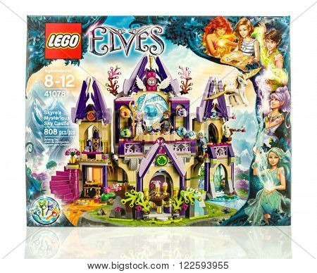 Winneconne WI - 18 Dec 2015: Box of Lego Skyra's mysterious sky castle from the Lego Elves collection.