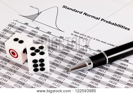 Two Dice And Pen On Standard Normal Probabilities Table.