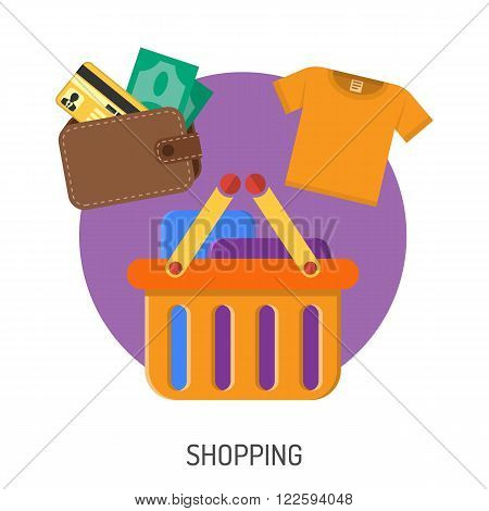 Internet Shopping Flat Icons for e-commerce with money, wallet and basket symbols. Vector isolated on white.