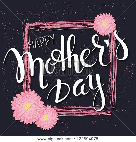 vector hand drawn mothers day lettering with branches, swirls, flowers and quote - happy mothers day