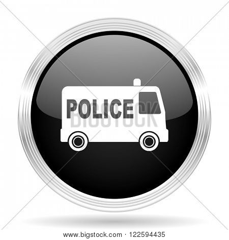 police black metallic modern web design glossy circle icon