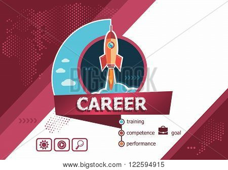 Career Concept On Background With Rocket.