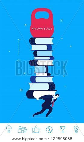 Flat design vector concept illustration. businessman pulling a heavy load. Knowledge is power.  Good profit. Vector clipart. Icons set.