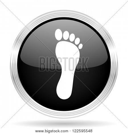 foot black metallic modern web design glossy circle icon