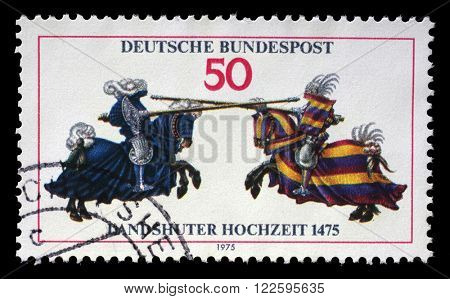 ZAGREB, CROATIA - JULY 03: Stamp printed in the Germany shows Joust, from Jousting Book of William IV, 500th Anniversary of the Wedding of Landshut, circa 1975, in Zagreb, Croatia on July 03, 2014.