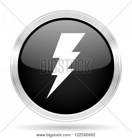 bolt black metallic modern web design glossy circle icon