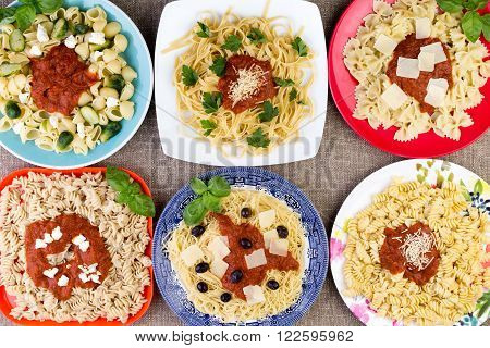 Six Pasta Dishes With Sauce And Herbs