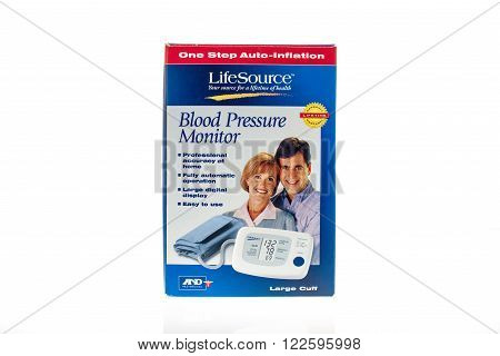 Winneconne WI -4 Nov 2015: Life source blood pressure monitor for home use.