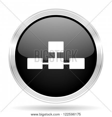 database black metallic modern web design glossy circle icon