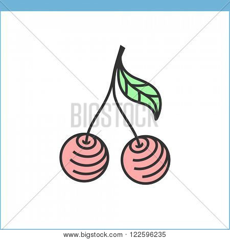 Cherry vector icon. Linear style