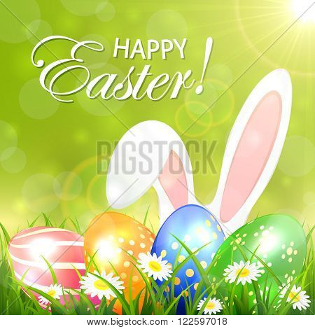 Green background with colored Easter eggs and rabbit ears in the grass, illustration.