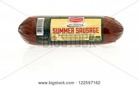 Winneconne WI - 17 Jan 2016: Package of Klement's summer sausage