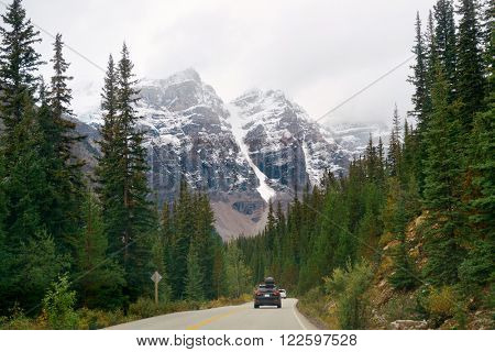 Snow capped mountain of Banff National Park and highway in Canada
