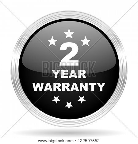 warranty guarantee 2 year black metallic modern web design glossy circle icon