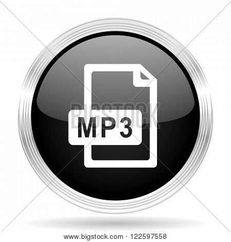 mp3 file black metallic modern web design glossy circle icon