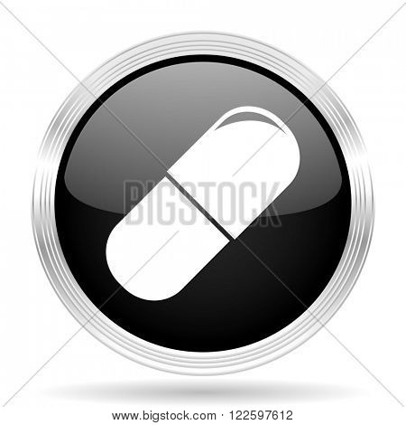 drugs black metallic modern web design glossy circle icon
