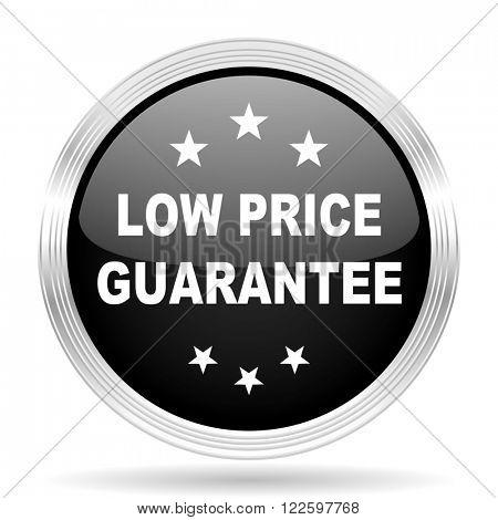 low price guarantee black metallic modern web design glossy circle icon