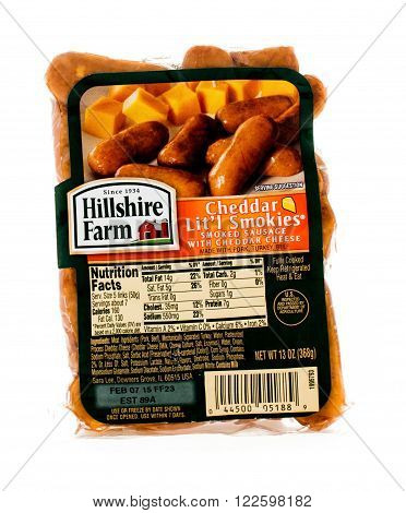 Winneconne WI - 4 February 2015: Bag of Hillshire Farm Cheddar Lit'l Smokies created in 1934. Hillshire Farm is owned by the Sara Lee Company located in Downers Grove IL..