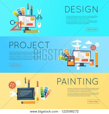 Web design, graphic design, illustration, responsive design set of icons. Horizontal banners. Flat design vector.