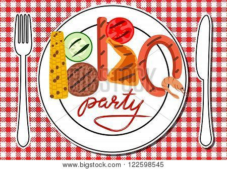 Barbecue food in plates on table. BBQ party