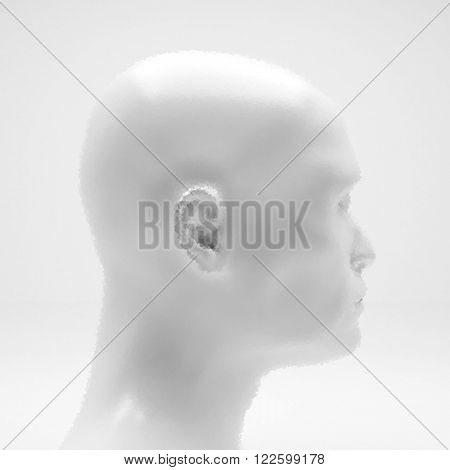 Cyborg, Robot. Realistic Vector Humanoid Robot. View of Human Head. Stipple Effect. Vector Art. Dot Design. Pointillism Style. Face Scanning.