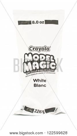 Winneconne WI - 20 April 2015: Bag of Crayola Model Magic modeling material in white color.