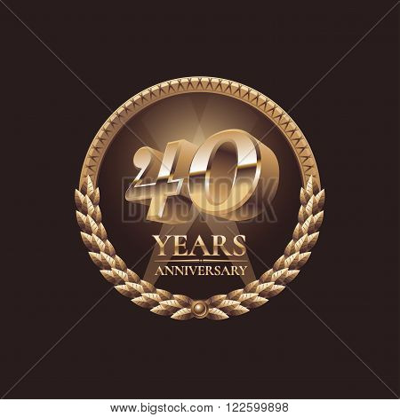 40 years anniversary vector icon. 30th celebration design. Golden jubilee symbol