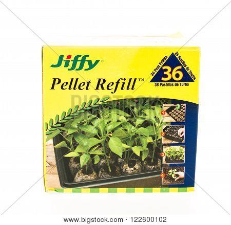 Winneconne, WI - 20 April 2015: Box of Jiffy pellet refills