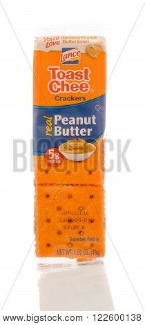 Winneconne WI - 19 Feb 2016: Package of Lance toast cheese crackers that contains peanut butter.