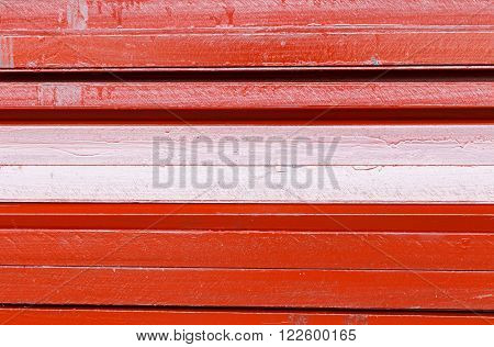 Close up texture of red heap U shape beam steel