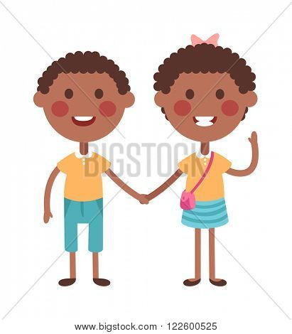 Twins kids holding hands and cute twins kids together. Twins happy kids holding hands boy and girl vector illustration.
