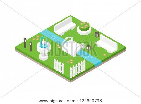 Park isometric 3d green nature and park travel isometric design. 3d isometric design nature park landscape illustration with forest, hills,rocks, waterfall, flowers and meadow vector.