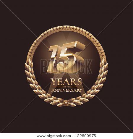 15 years anniversary vector icon. 15th celebration design. Golden jubilee symbol