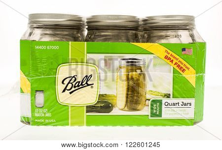 Winneconne, WI - 20 April 2015: Case of Ball canning jars in quart size.