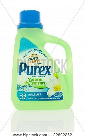 Winneconne WI - 4 Feb 2016: Bottle of Purex laundry detergent.