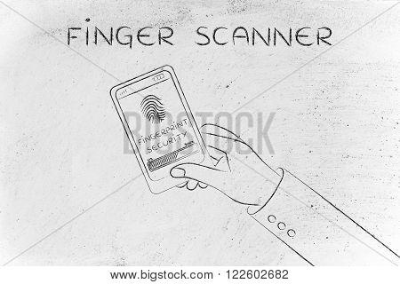 Finger Scanner, Smartphone Screen With Scan In Progress