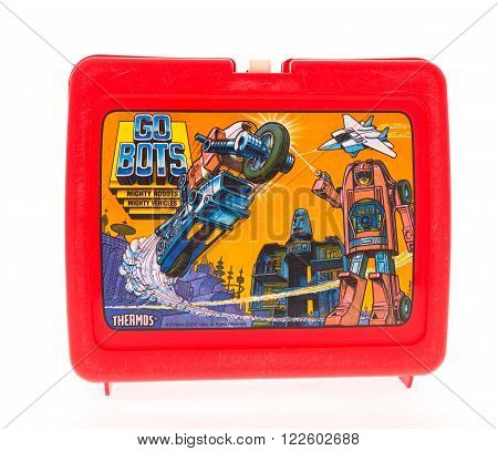 Winneconne WI - 20 April 2015: Plastic lunch box from the 1980's featuring the Go Bots a popular cartoon.