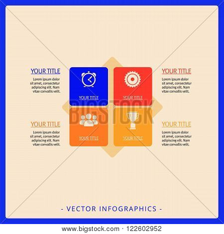 Editable infographic template of diagram with four square blocks, icons, titles and sample text, multicolored version