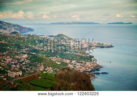aerial view from the Cabo Girao cliff Madeira island Portugal