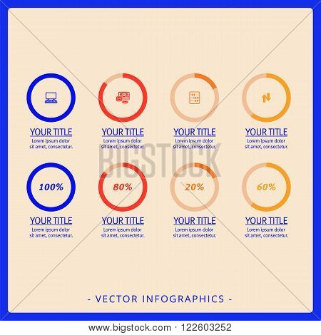 Editable infographic template of eight doughnut charts with icons and percent marks, multicolored version