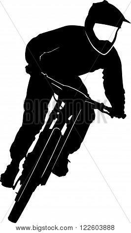 Bike race on a mountain slope - contour, silhouette,
