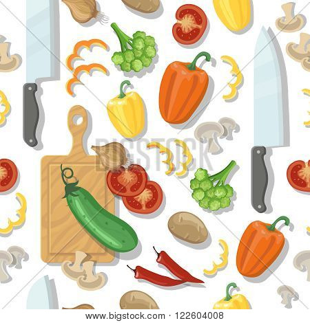 cutting board and vegetables tomatoes pepper onion broccoli and zucchini seamless