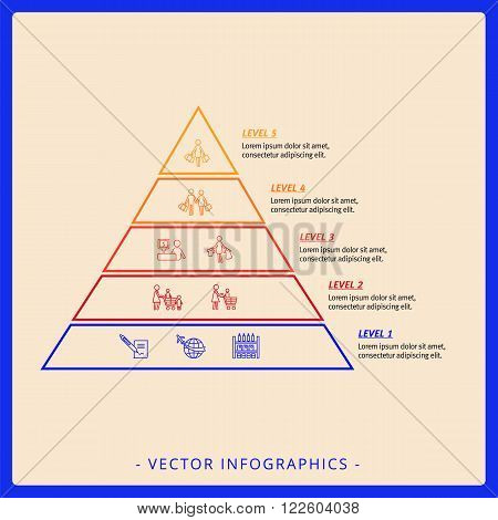 Editable infographic template of five level stacked pyramid chart with icons, titles and sample text, multicolored version