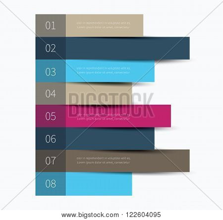 infographics horizontal stickers with options and description