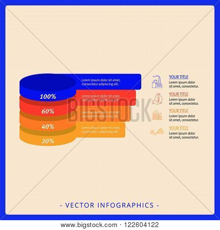 Editable infographic template of stacked pyramid chart with four levels, multicolored version