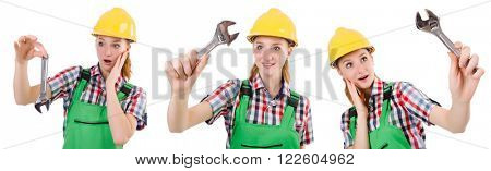 Constructon worker female with wrench isolated on white